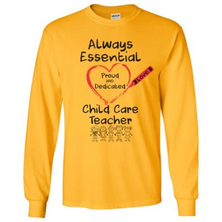 Crayon Heart with Kids Big Black Font Child Care Teacher Long-Sleeved Shirt