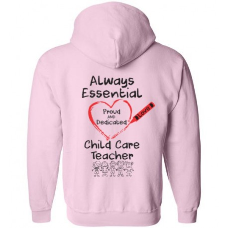 *Logo On Back* Crayon Heart with Kids Big Black Font Child Care Teacher Zip-Up Hoodie