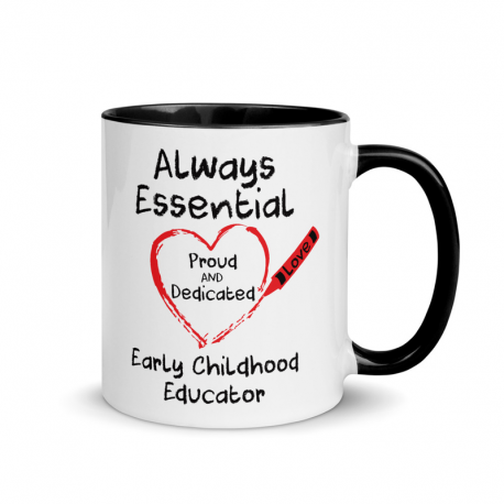 Crayon Heart Big Black Font Early Childhood Educator Mug With Color Inside
