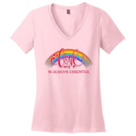 Love is Always Essential Pink Font Women's V-Neck T-Shirt