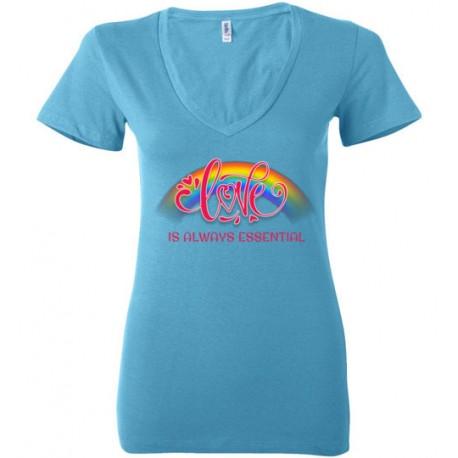 Love is Always Essential Pink Font Women's Deep V-Neck T-Shirt