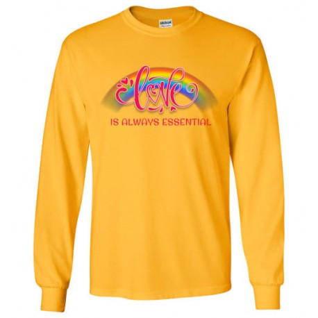 Love is Always Essential Pink Font Long-Sleeved Shirt