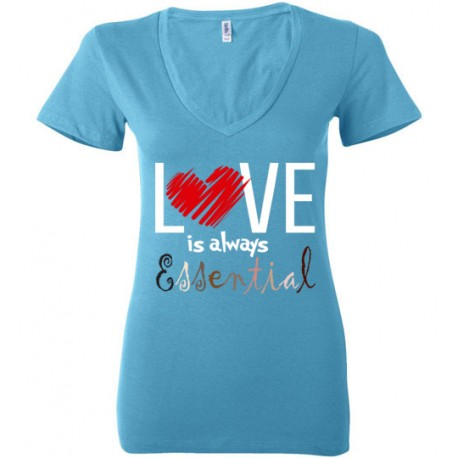 Scribble Heart Essential Women's Deep V-Neck T-Shirt