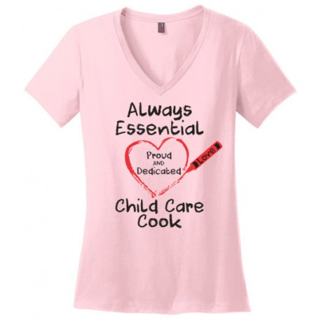 Crayon Heart Big Black Font Child Care Cook Women's V-Neck T-Shirt