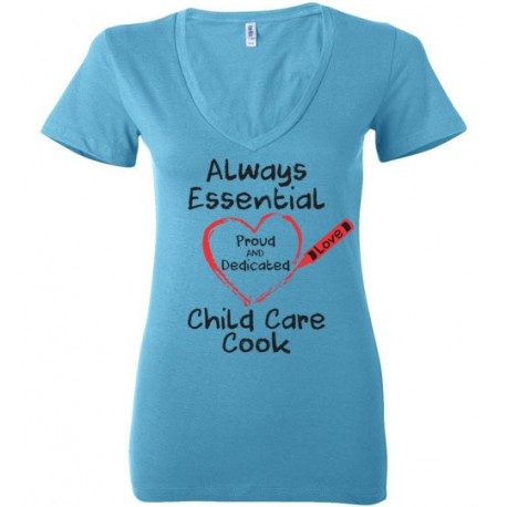 Crayon Heart Big Black Font Child Care Cook Women's Deep V-Neck T-Shirt