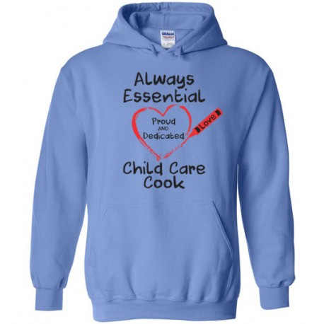 Crayon Heart Big Black Font Child Care Cook Hoodie