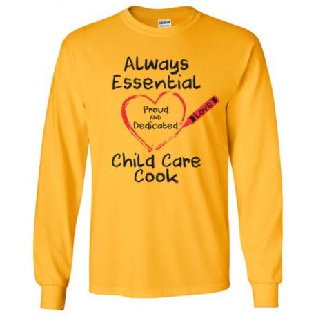 Crayon Heart Big Black Font Child Care Cook Long-Sleeved Shirt