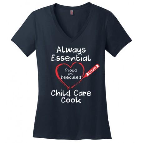 Crayon Heart Big White Font Child Care Cook Women's V-Neck T-Shirt