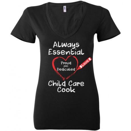 Crayon Heart Big White Font Child Care Cook Women's Deep V-Neck T-Shirt