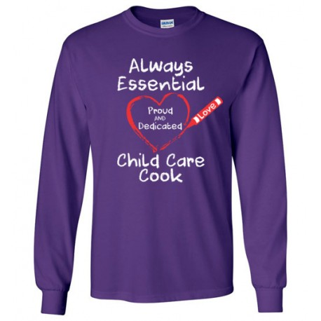 Crayon Heart Big White Font Child Care Cook Long-Sleeved Shirt