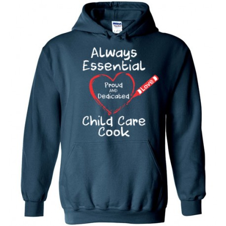 Crayon Heart Big White Font Child Care Cook Hoodie