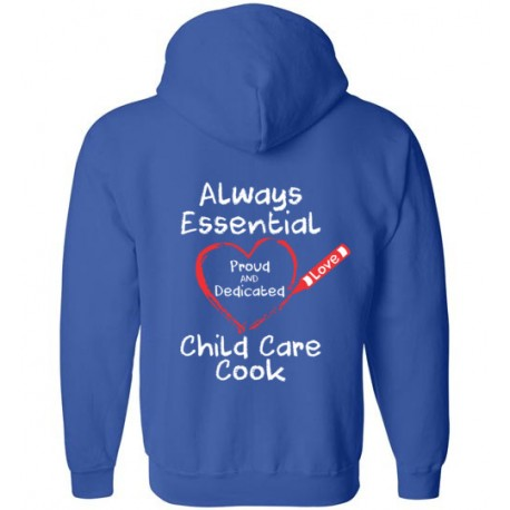 *Logo on Back* Crayon Heart Big White Font Child Care Cook Zip-Up Hoodie