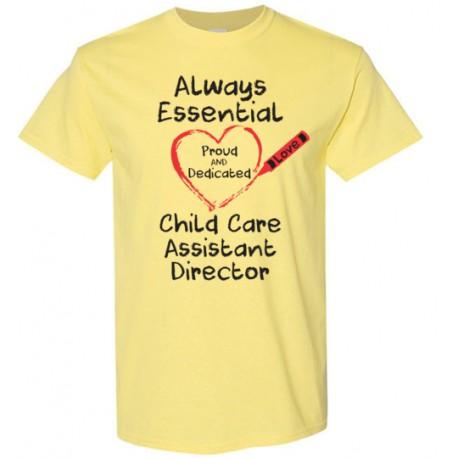 Crayon Heart Big Black Font Child Care Assistant Director Men's T-Shirt