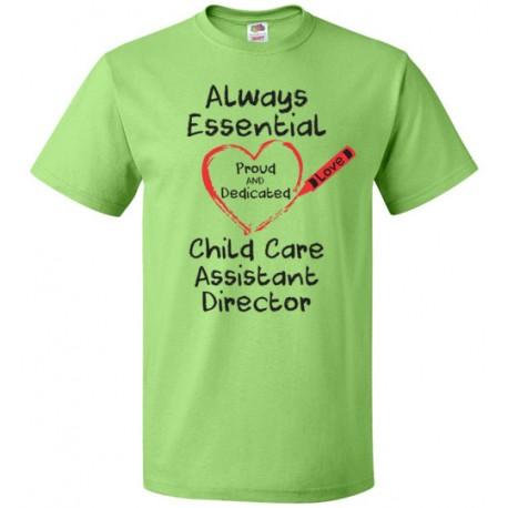 Crayon Heart Big Black Font Child Care Assistant Director Unisex T-Shirt