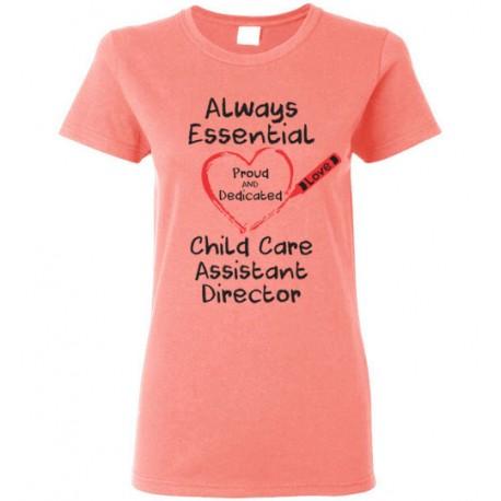 Crayon Heart Big Black Font Child Care Assistant Director Women's T-Shirt