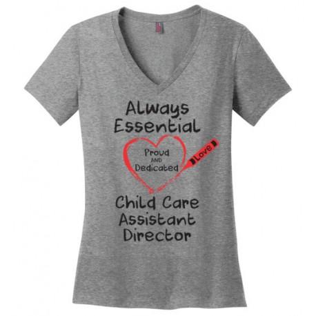 Crayon Heart Big Black Font Child Care Assistant Director Women's V-Neck T-Shirt