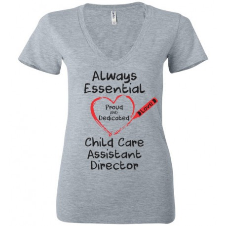 Crayon Heart Big Black Font Child Care Assistant Director Women's Deep V-Neck T-Shirt