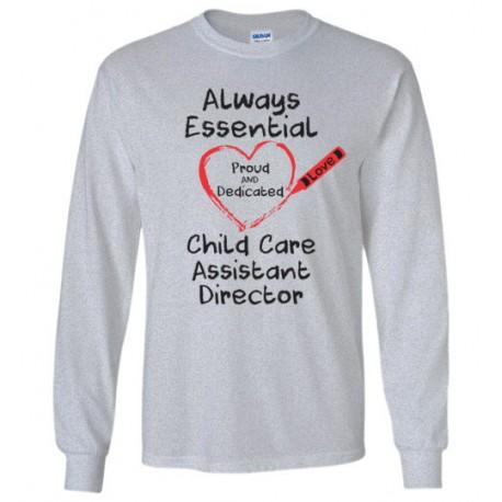 Crayon Heart Big Black Font Child Care Assistant Director Long-Sleeved Shirt