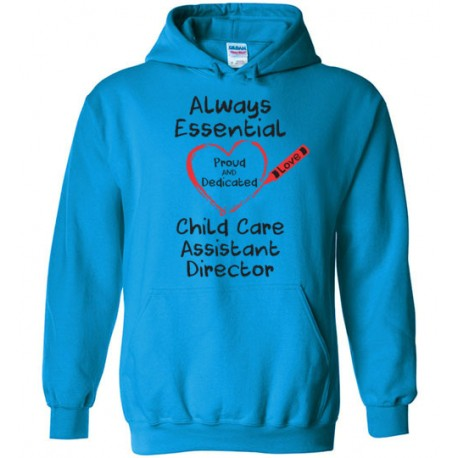 Crayon Heart Big Black Font Child Care Assistant Director Hoodie