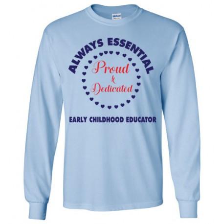Circle of Hearts Dark Blue font Long-Sleeved T-Shirt