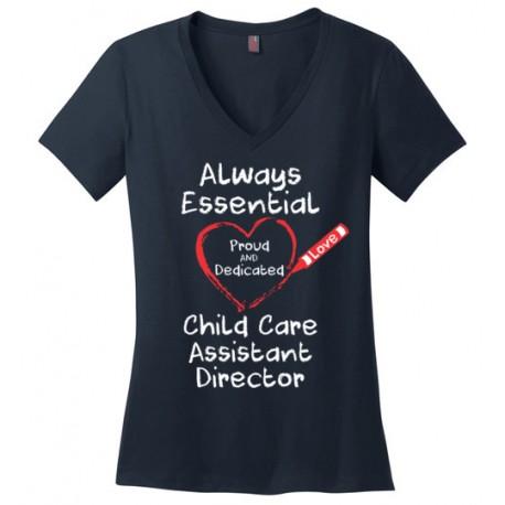 Crayon Heart Big White Font Child Care Assistant Director Women's V-Neck T-Shirt