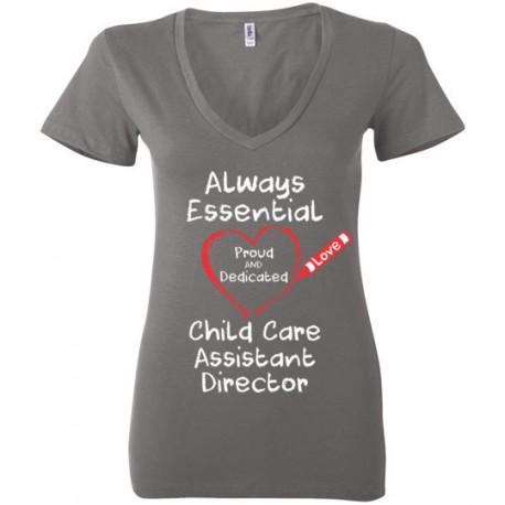 Crayon Heart Big White Font Child Care Assistant Director Women's Deep V-Neck T-Shirt