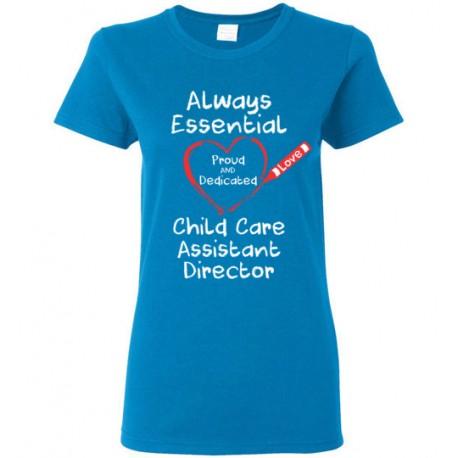 Crayon Heart Big White Font Child Care Assistant Director Women's T-Shirt