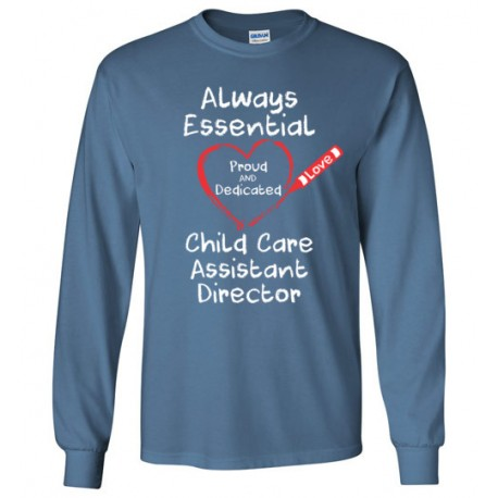 Crayon Heart Big White Font Child Care Assistant Director Long-Sleeved Shirt