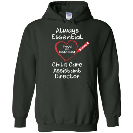Crayon Heart Big White Font Child Care Assistant Director Hoodie