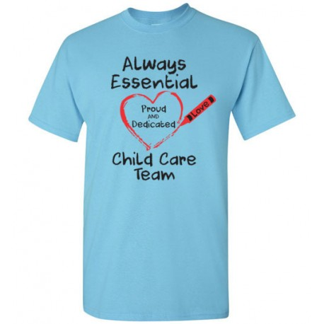Crayon Heart Big Black Font Child Care Team Men's T-Shirt