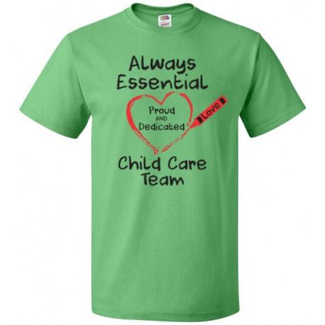 Crayon Heart Big Black Font Child Care Team Unisex T-Shirt