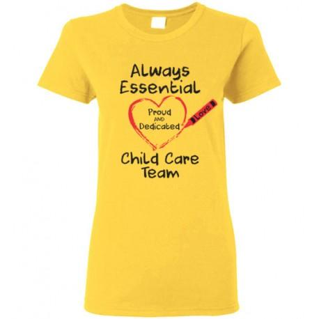 Crayon Heart Big Black Font Child Care Team Women's T-Shirt