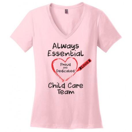 Crayon Heart Big Black Font Child Care Team Women's V-Neck T-Shirt