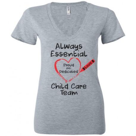 Crayon Heart Big Black Font Child Care Team Women's Deep V-Neck T-Shirt