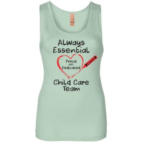 Crayon Heart Big Black Font Child Care Team Women's Tank