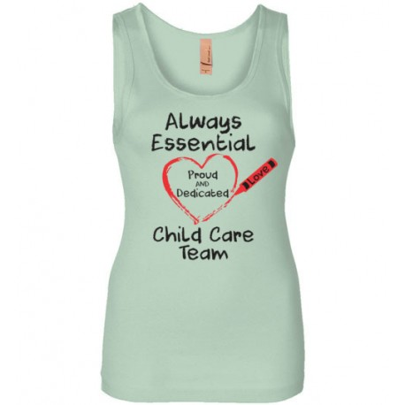 Crayon Heart Big Black Font Child Care Team Women's Tank
