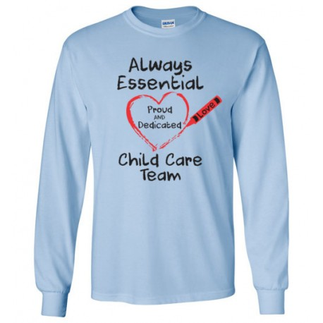 Crayon Heart Big Black Font Child Care Team Long-Sleeved Shirt