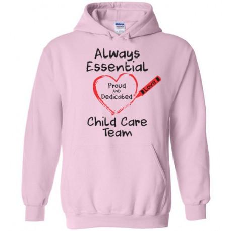 Crayon Heart Big Black Font Child Care Team Hoodie