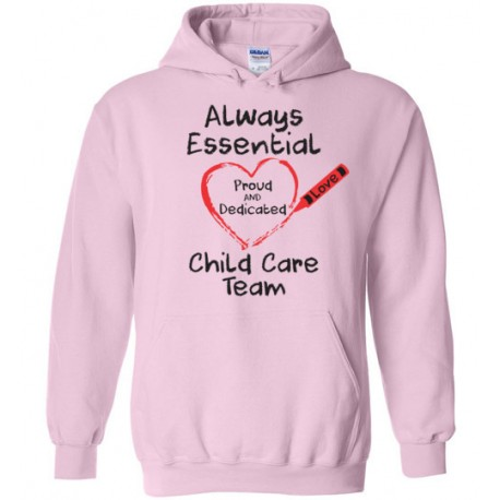 Crayon Heart Big Black Font Child Care Team Hoodie