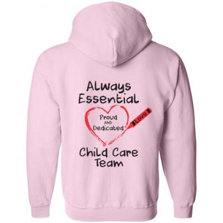*Logo on Back* Crayon Heart Big Black Font Child Care Team Zip-Up Hoodie