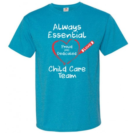 Crayon Heart Big White Font Child Care Team Unisex T-Shirt