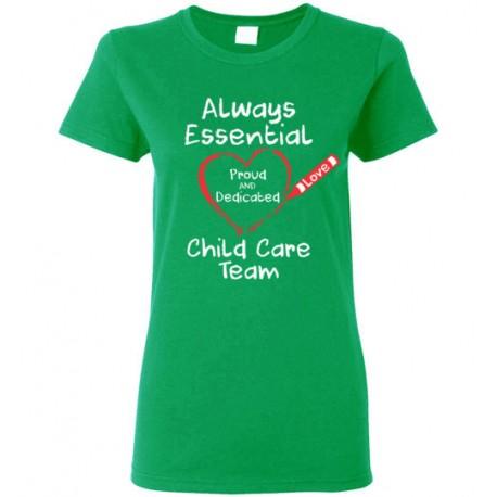Crayon Heart Big White Font Child Care Team Women's T-Shirt