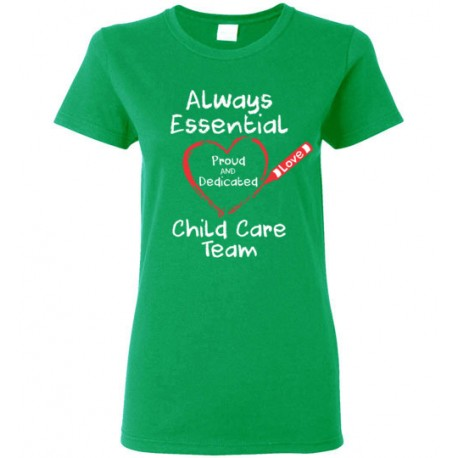 Crayon Heart Big White Font Child Care Team Women's T-Shirt