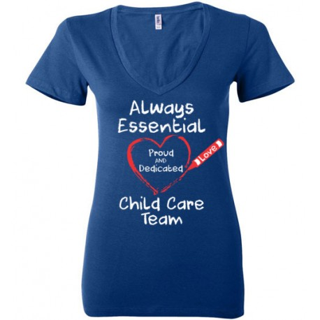 Crayon Heart Big White Font Child Care Team Women's Deep V-Neck T-Shirt