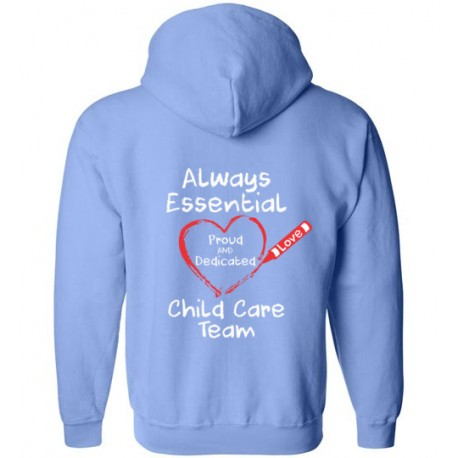 *Logo on Back* Crayon Heart Big White Font Child Care Team Zip-Up Hoodie