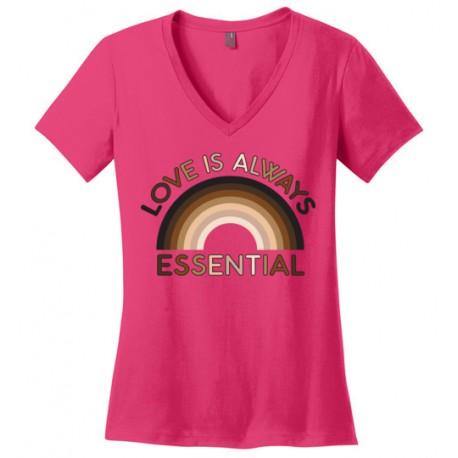 Love is Always Essential Skin-Tone Rainbow Women's V-Neck