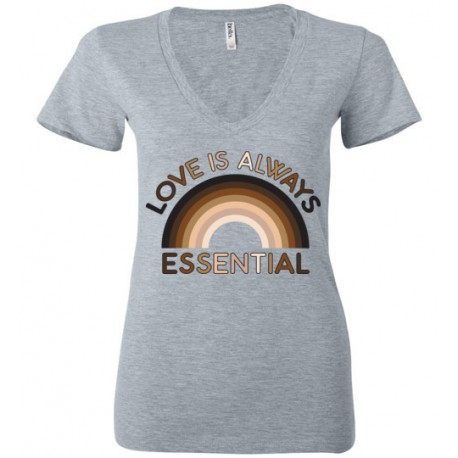 Love is Always Essential Skin-Tone Rainbow Women's Deep V-Neck