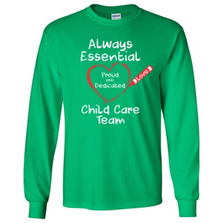Crayon Heart Big White Font Child Care Team Long-Sleeved Shirt