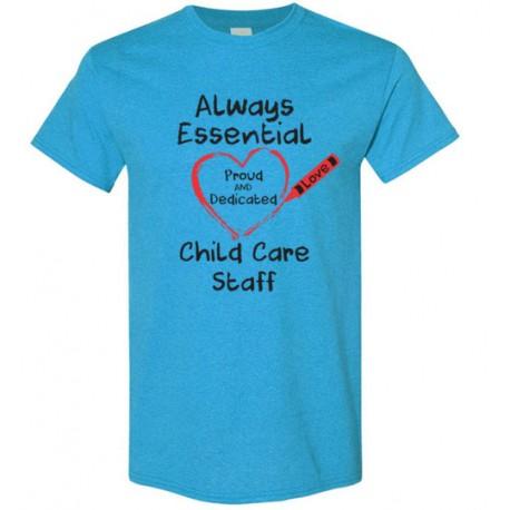 Crayon Heart Big Black Font Child Care Staff Men's T-Shirt