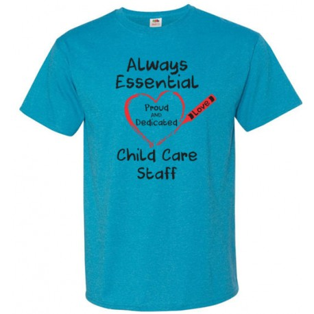 Crayon Heart Big Black Font Child Care Staff Unisex T-Shirt